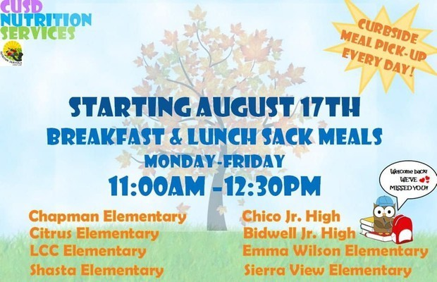 Chico Unified Nutrition Services Provides free Grab-and-Go meals for ALL kids under the age of 18:
